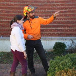 Arborist explaining tree health